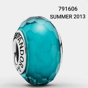 AUTH PANDORA 791606 TEAL GLASS FACETED BEAD CHARM